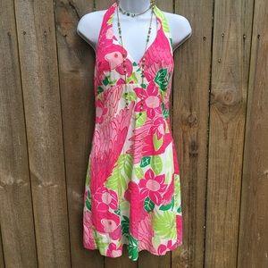 Y2K Lilly Pulitzer Tropical Halter Dress EUC sz 4